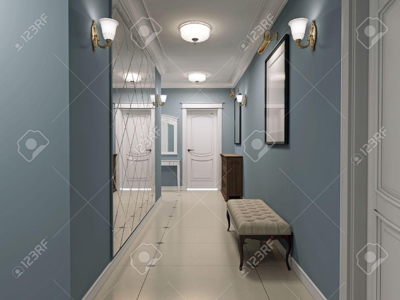 Luxury entrance hall art deco design corridor with blue matt