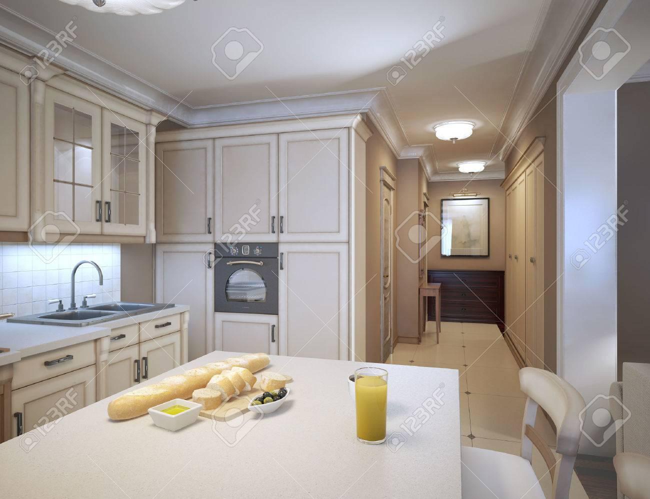 Weiße Küche Art-Deco-Stil. Design-Ideen Für Eine Traditionelle Küche ...