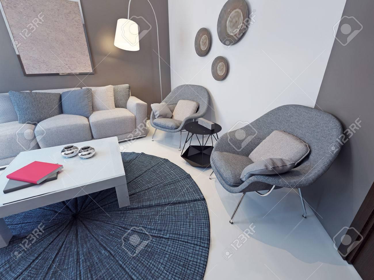 Wohnzimmer Zeitgenössischen Stil. Designer Weißen Tisch Mit ...