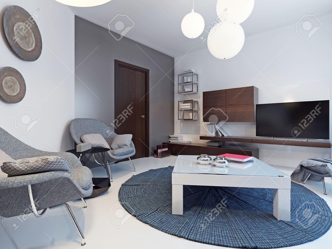Weiß wohnzimmer mit tv ständer und regale minimalistische