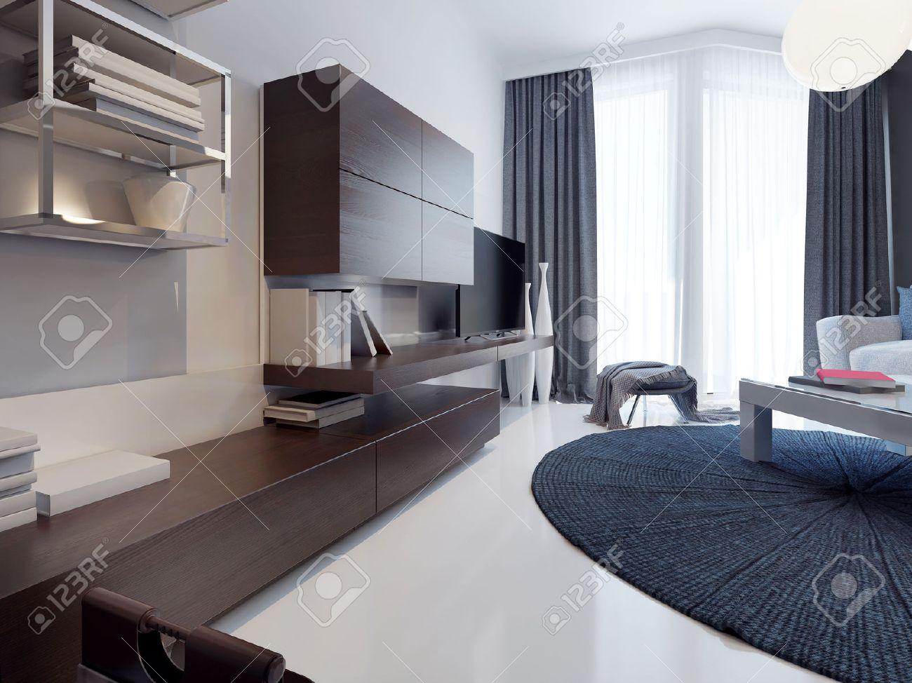 Moderne Wohnzimmer Design. Matte TV Möbel Möbel Braun. Weiß Gegossen  Betonböden Und