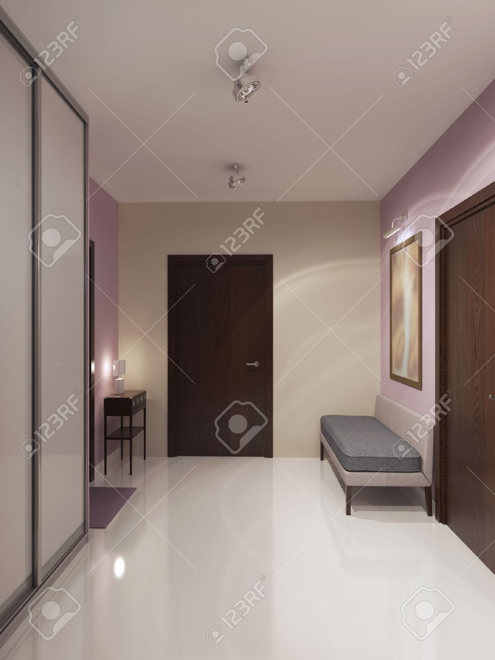 Design of spacious minimalist hallway cream and light pink walls design of spacious minimalist hallway cream and light pink wallswhite ceiling and polished aloadofball Gallery