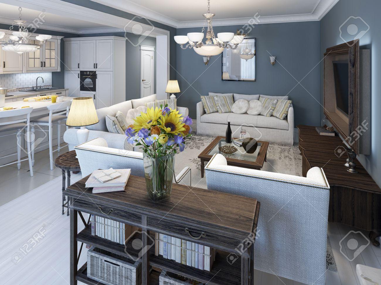 Salon Style Mediterraneen Avec Des Murs Bleus Parquet Blanc Un Mobilier Blanc Elegant Cuisine Sur Fond 3d Render