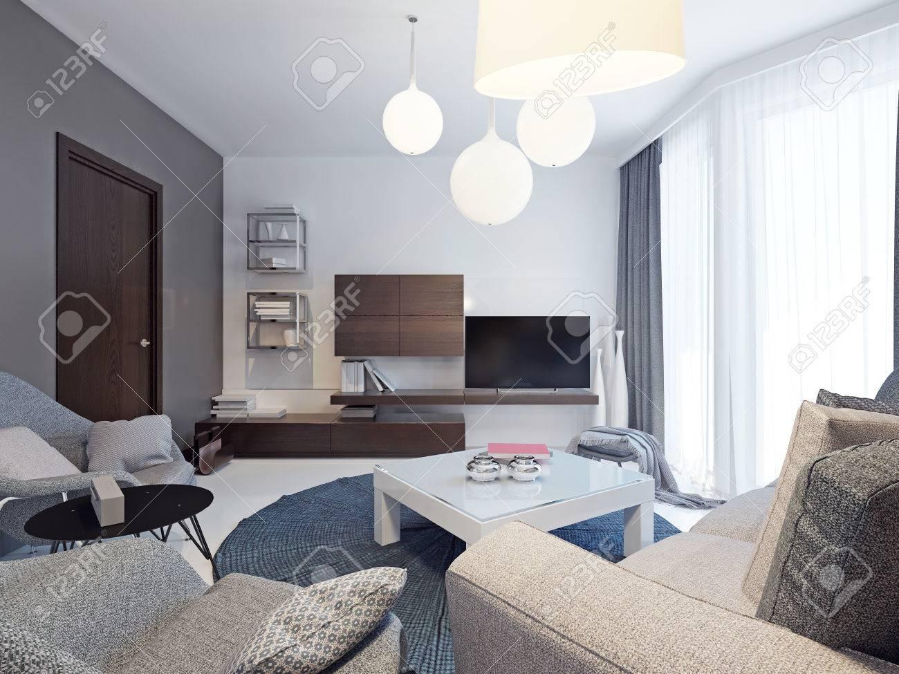 Minimalist Living Room Interior. Beautiful Bright Room With Colorful  Original Form Walls, Floor To