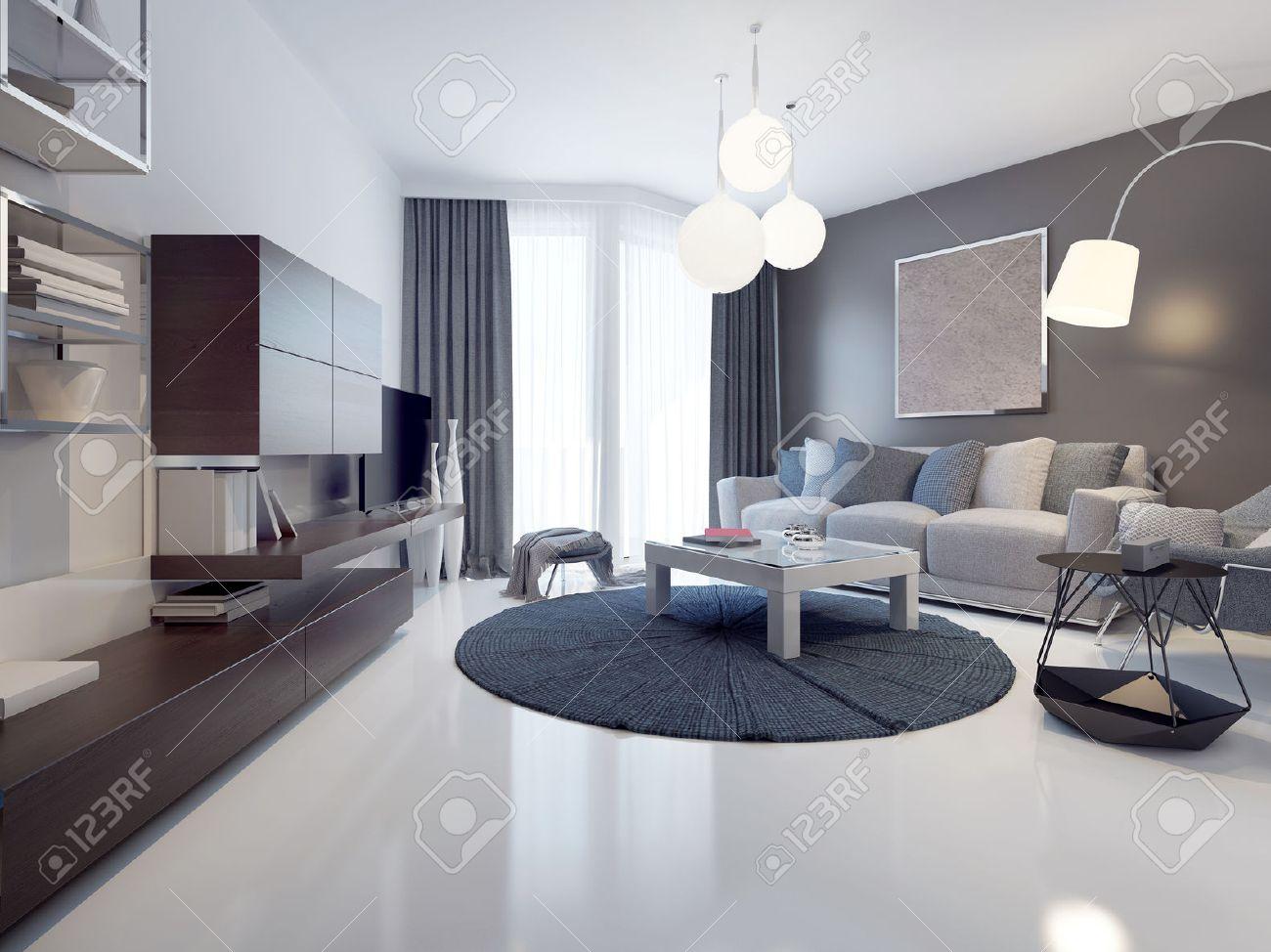 Idée de salon contemporain. Les murs blancs et gris, plancher en béton  blanc poli et vernis. Du sol au plafond, des fenêtres panoramiques. 3D  render