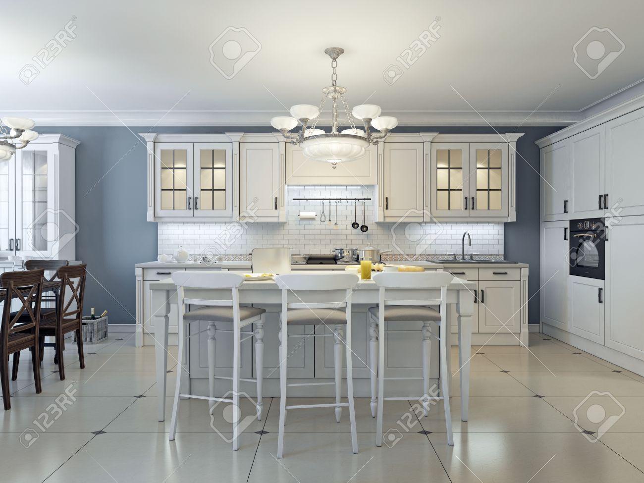 Art brillant conception de cuisine déco. Armoires de verre avant, appareils  en acier inoxydable, armoires blanches, des comptoirs en marbre blanc, ...