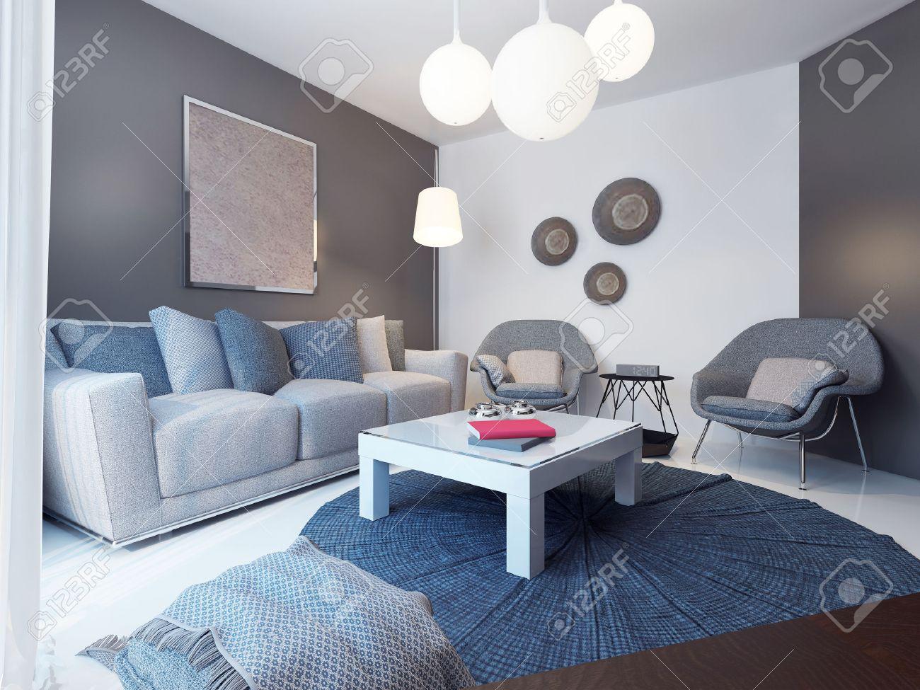 Gemutliches Wohnzimmer Minimalistischen Stil 3d Ubertragen