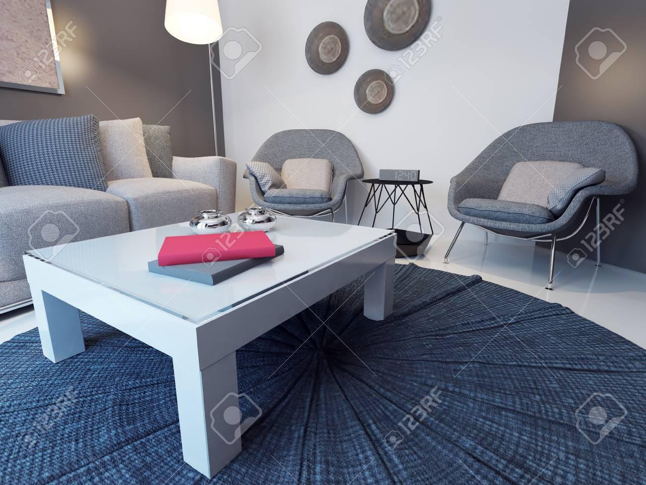 Idee Der Minimalistischen Lounge. 3D übertragen Lizenzfreie Fotos ...