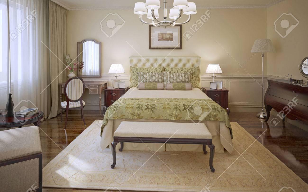 Chambre élégante de style moderne. Chambre des maîtres avec murs de couleur  crème de moulage, lit moelleux avec une couverture d\'olive et des ...
