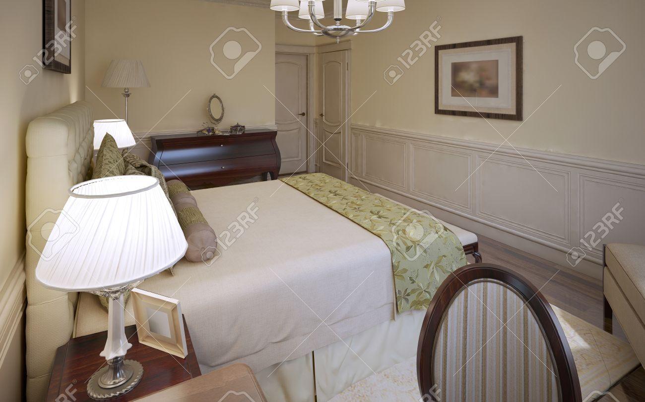 Diseño Tradicional Del Dormitorio Inglés. Dormitorio De Lujo Con ...