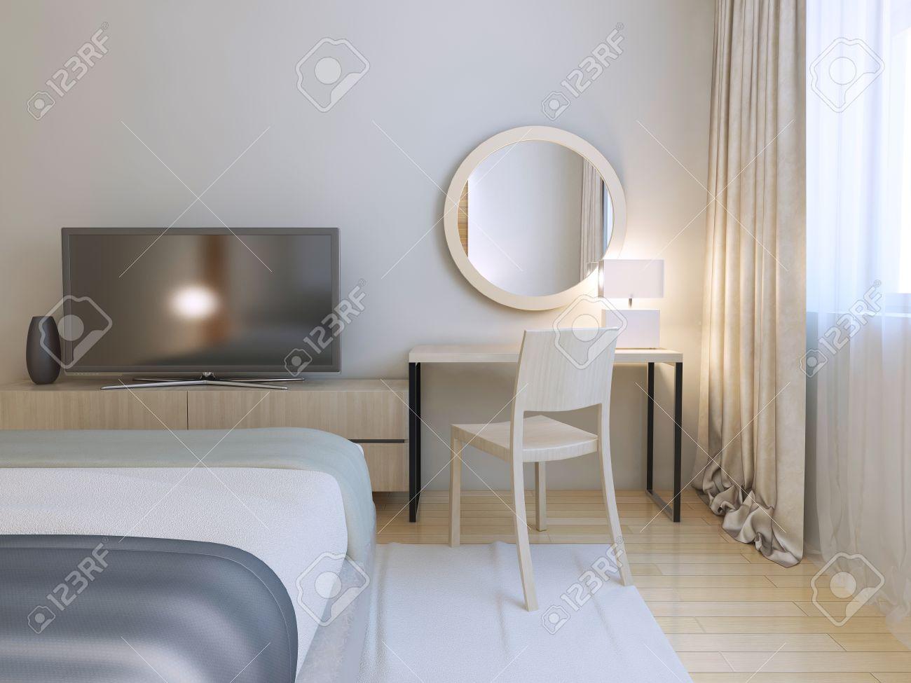 Moderne Schlafzimmer Interieur. Zimmer Mit Möbeln Und Parkettböden ...