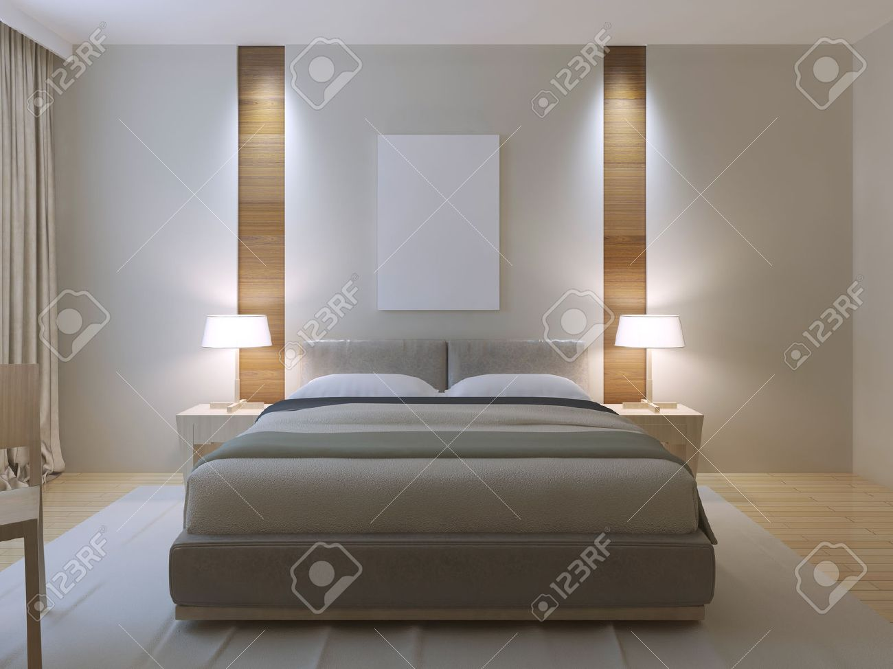 Modern master bedroom design. Dressed double bed with lether..