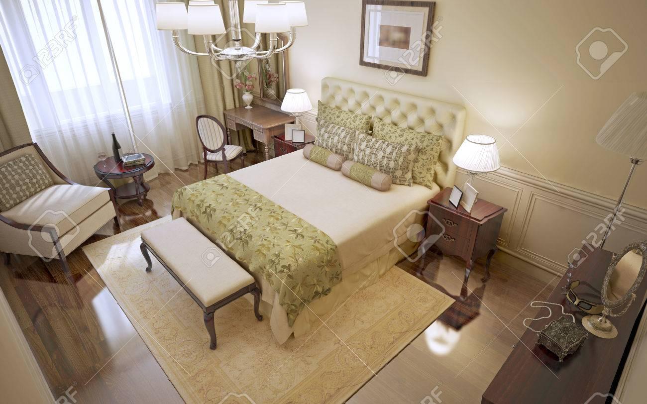 Idée de chambre classique avec des murs beiges, parquets cirés et de  meubles en acajou. 3D render