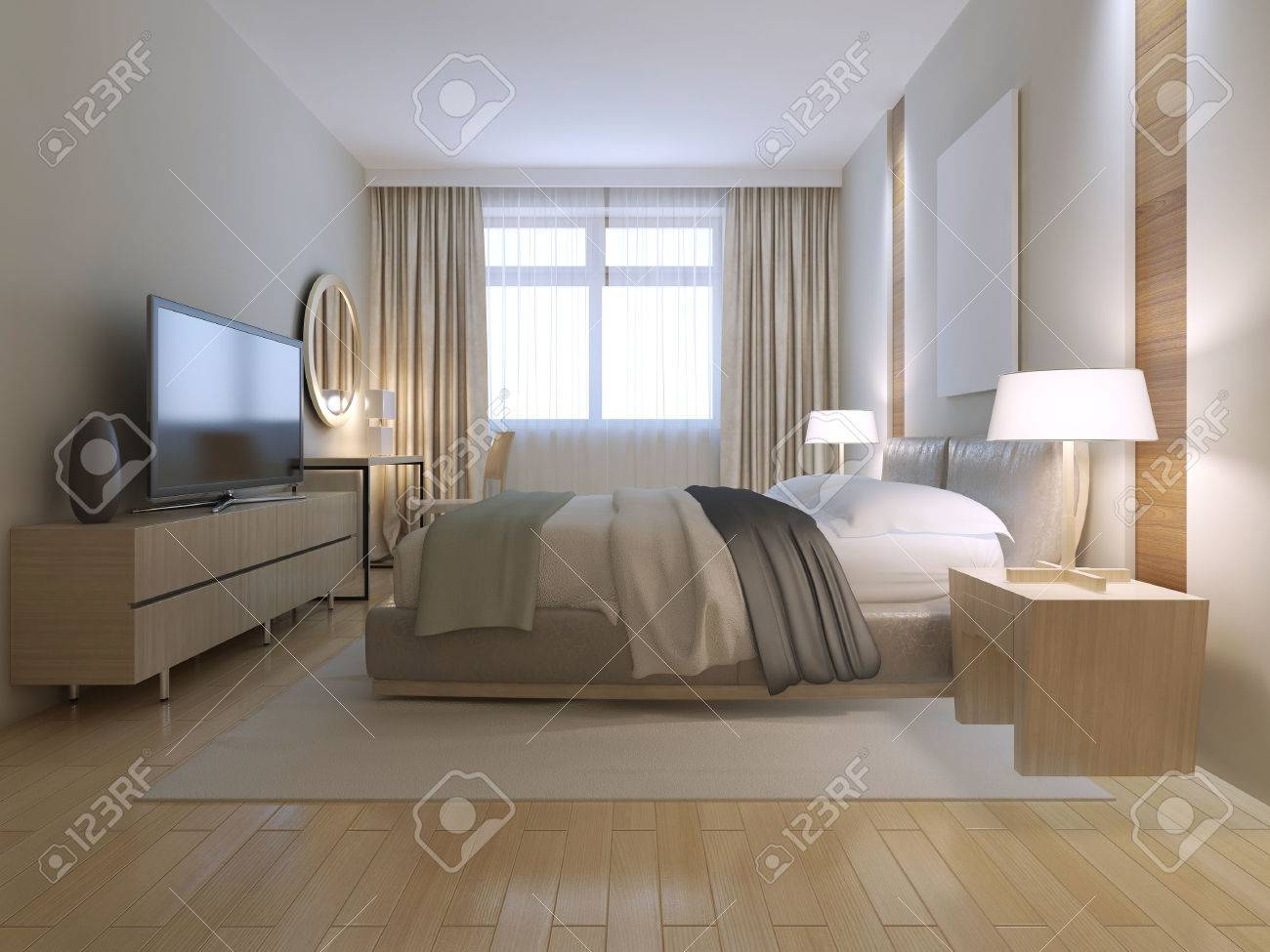 Contemporary Bedroom Design. Spacious Room With Light Wood Parquet ...