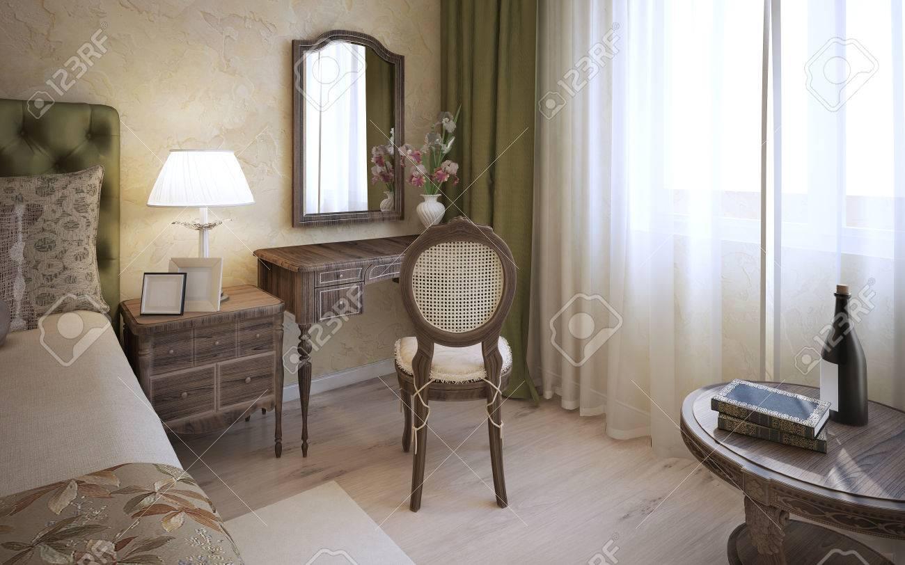 Schminktisch In Englisch Schlafzimmer. 3D übertragen Lizenzfreie ...