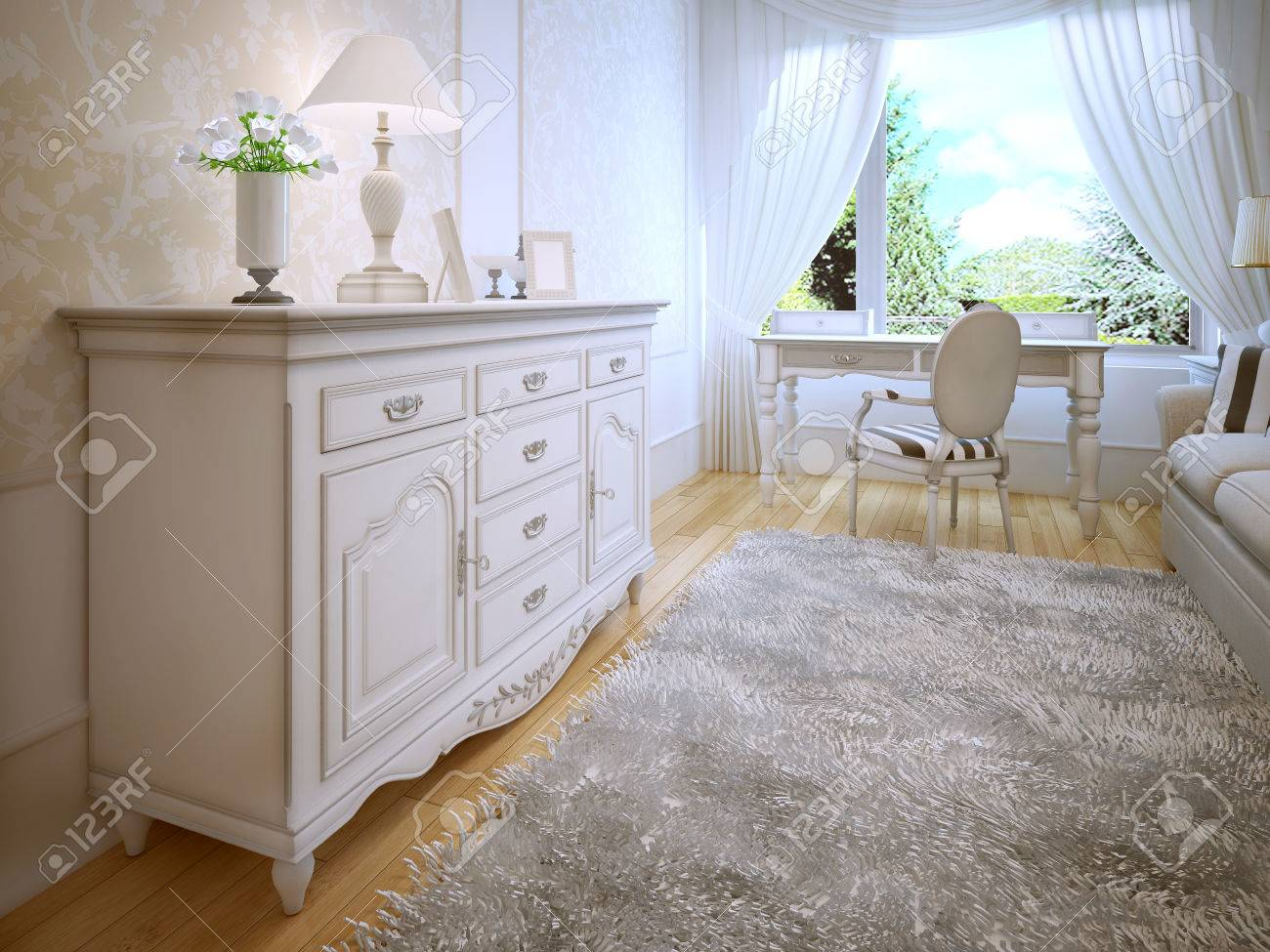 White Dresser In Classic Bedroom Parquet Light Wood Floors Gray Wool Carpet