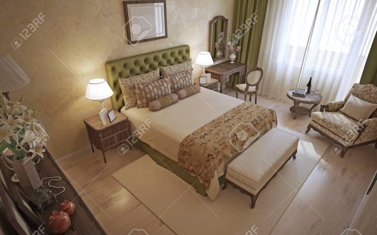 Traditionelle Englisch Schlafzimmer Interieur 3d übertragen