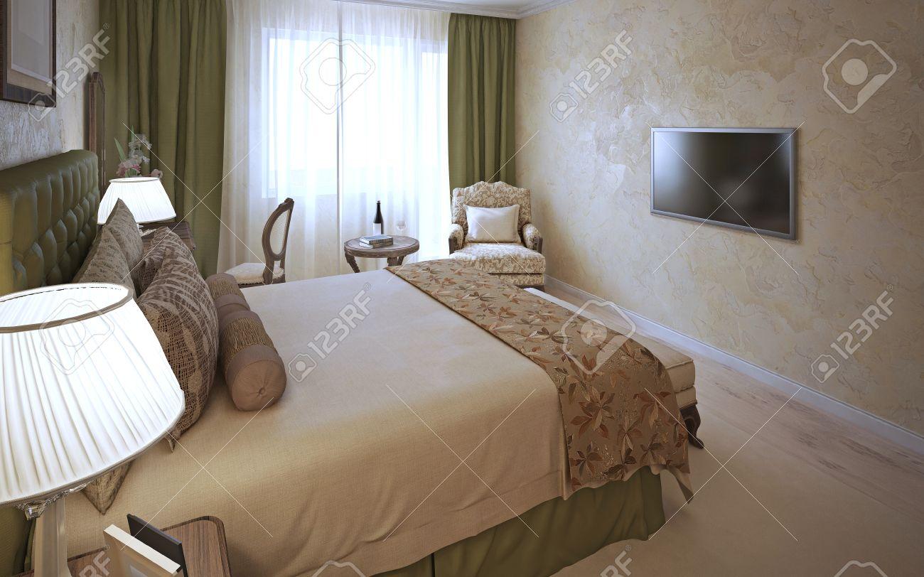 Elegantes Schlafzimmer Klassisches Design. Das Innere Der ...