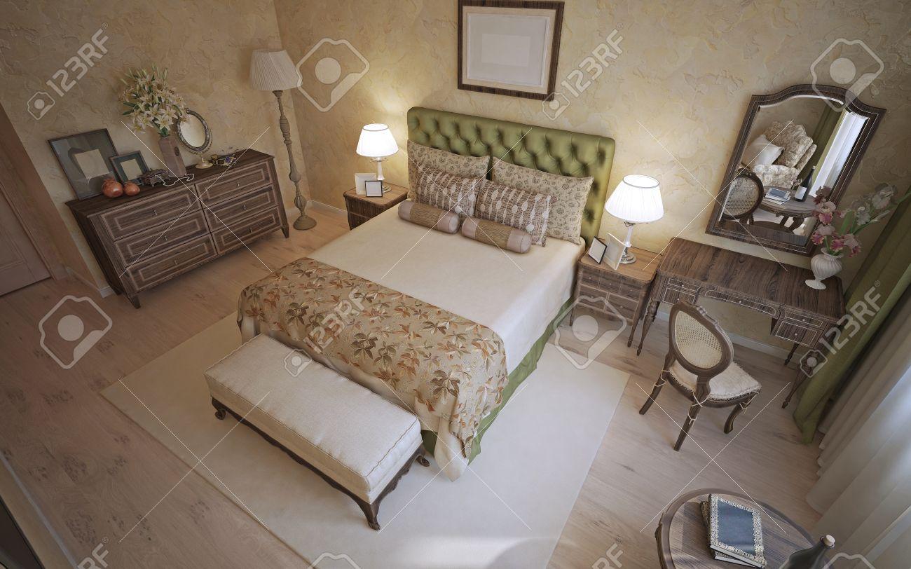 Fantastisch Mittelmeer Schlafzimmer Trend. Zimmer Mit Beigefarbenen Wänden  Venezianischer Dekorputz. Fußböden Aus Hellem Holz Und