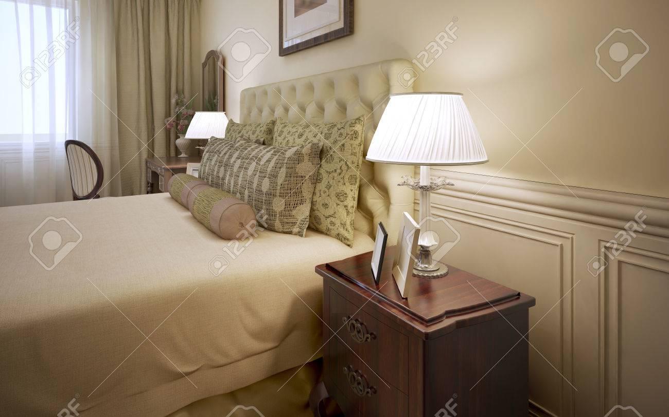 Luxury Hotel Room Interior Gekleidet Bett Mit Kissen Und Mahagoni