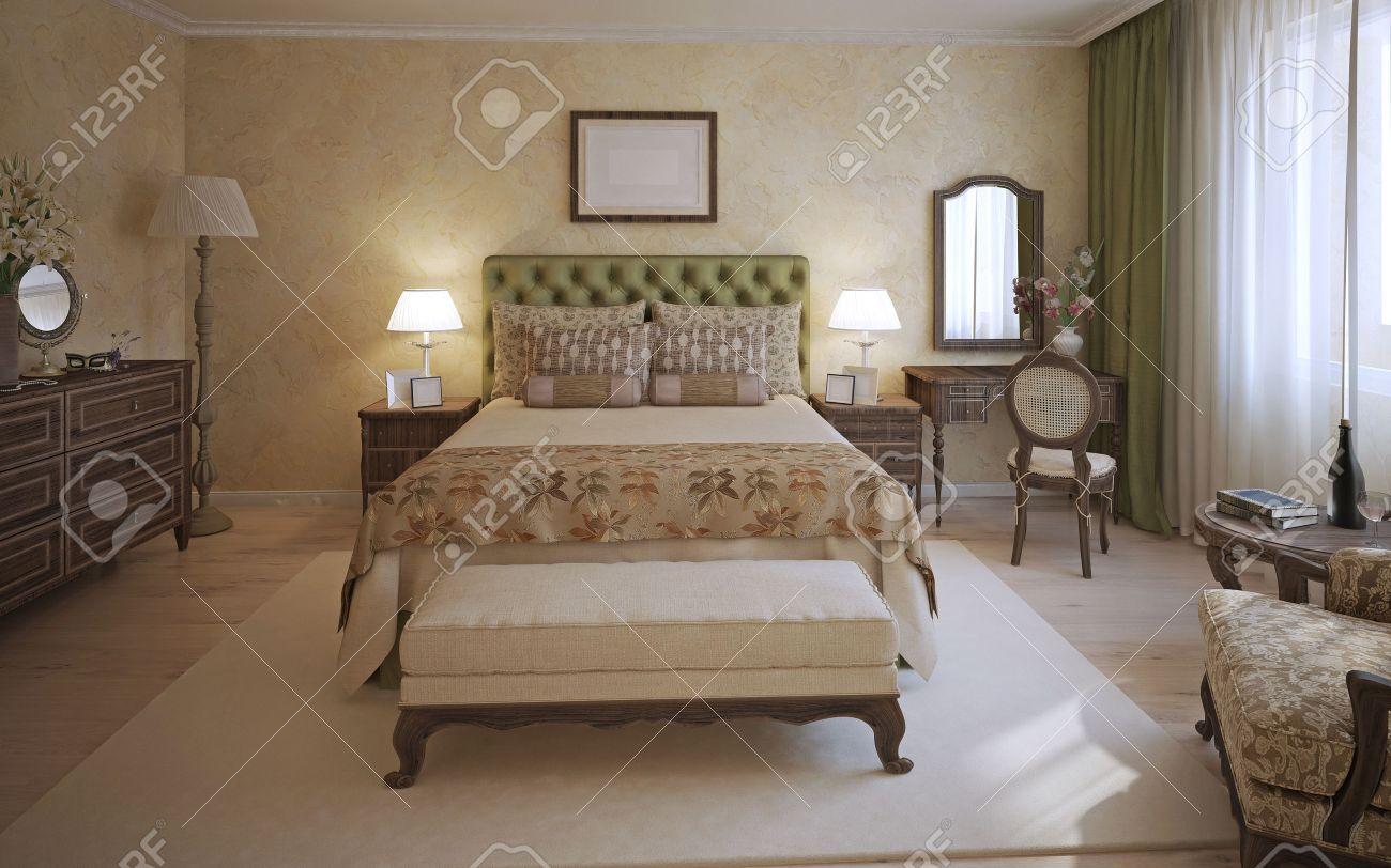 Lit Au Milieu D Une Chambre chambre à coucher principale de style anglais. une chambre avec deux places  lit, tête de lit d'olive et des meubles en chêne foncé. banc et tapis