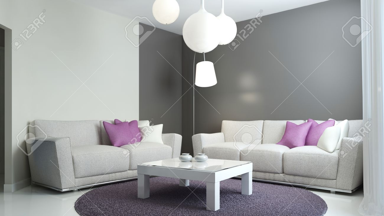 Lounge Zimmer Im Skandinavischen Stil. Sofas Mit Lila Und Weißen ...
