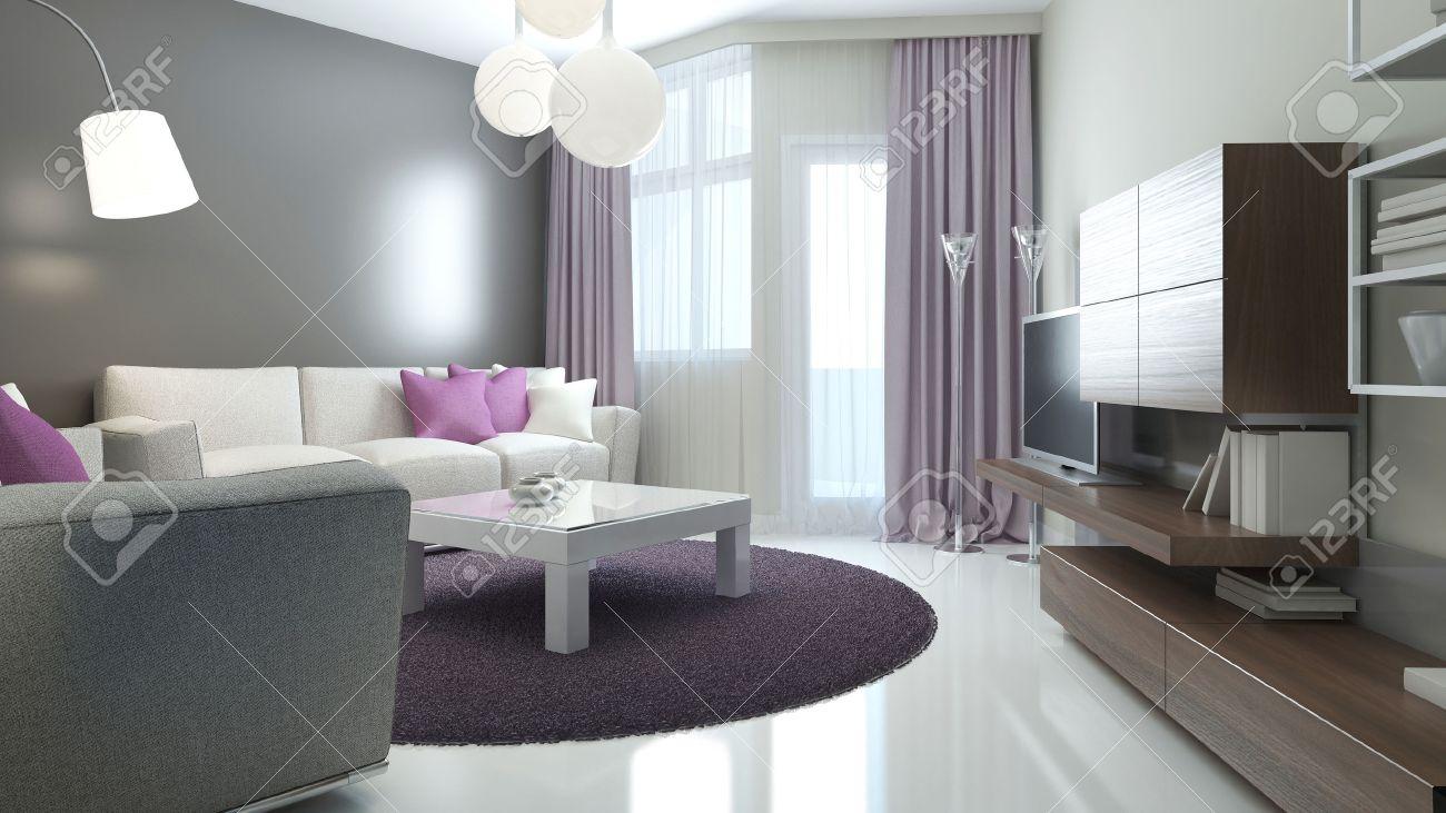 Idee Der Modernen Lounge. Zimmer Mit Balkon Eingang, Matte ...