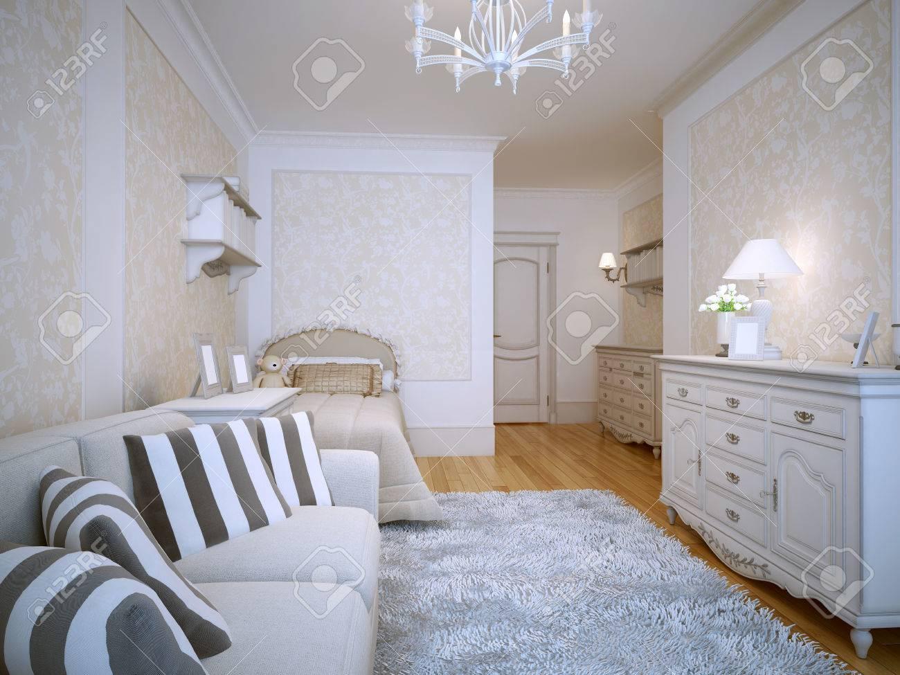 spaziosa camera da letto in stile classico. mobili bianchi ... - Cuscini Per Camera Da Letto