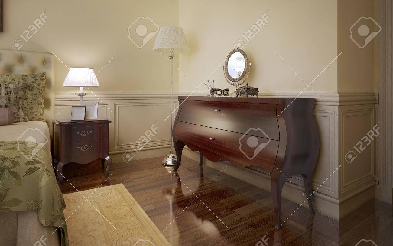 AuBergewohnlich Modernes Schlafzimmer Trend. Zimmer Mit Hellbeigen Wänden Mit Guß, Monogany  Möbel, Dunkle Holzböden