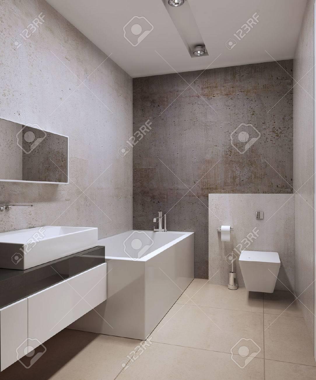 Zeitgenössische Wc Idee. Dekorative Betonreibeputz, Weiß Gefärbt ...