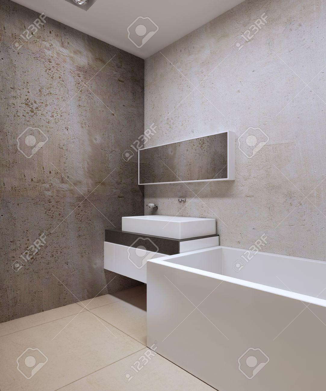 marmor kuche mit beton wand minimalistisch design, badezimmer techno-stil. dekorative beton strukturierte wände, Design ideen