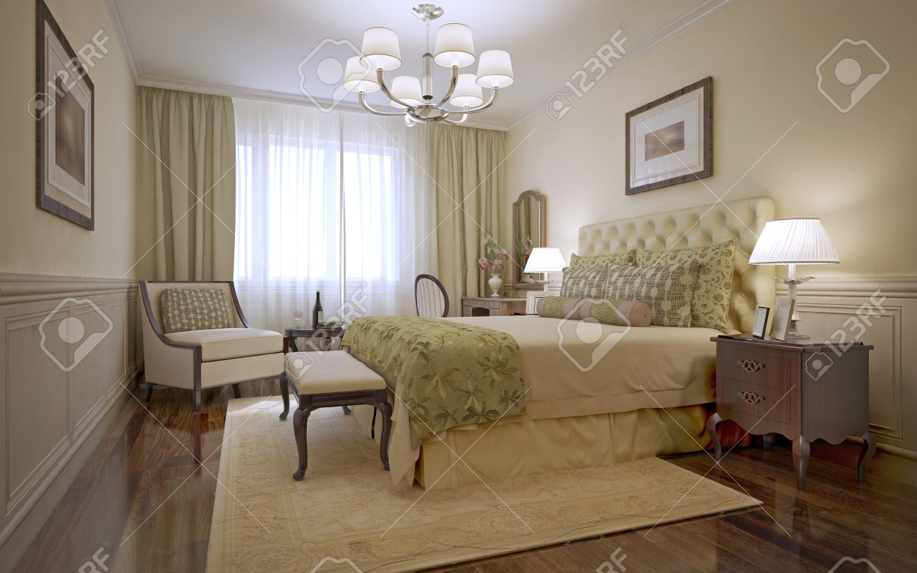 Luxury Bedroom English Style. Inspiration For A Traditional Bedroom With  Monotone Walls And Dark Tone