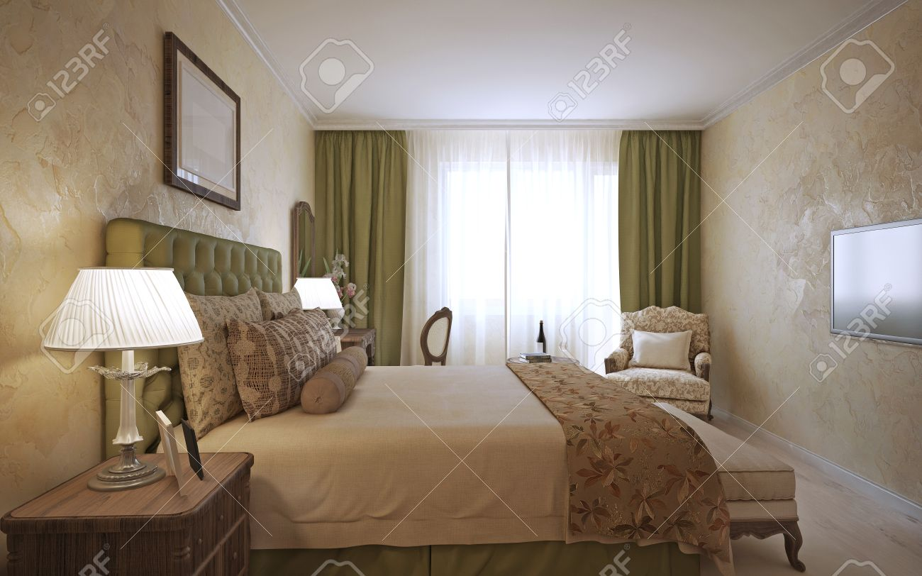 Slaapkamer engels design. netjes gekleed bed met kussens en dekens ...