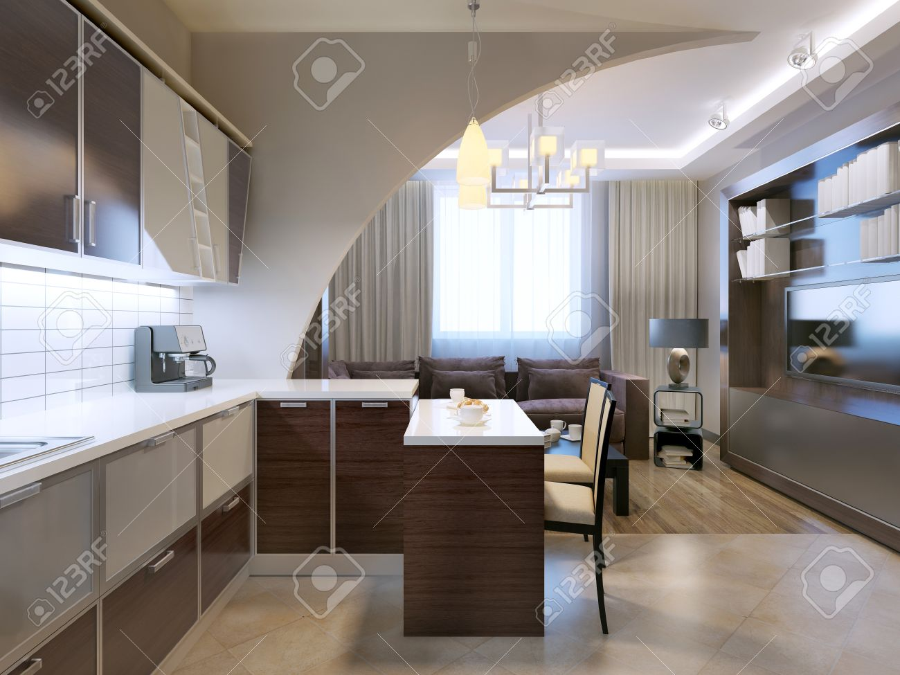 Glossy minimalist kitchen with bar and lounge on background...