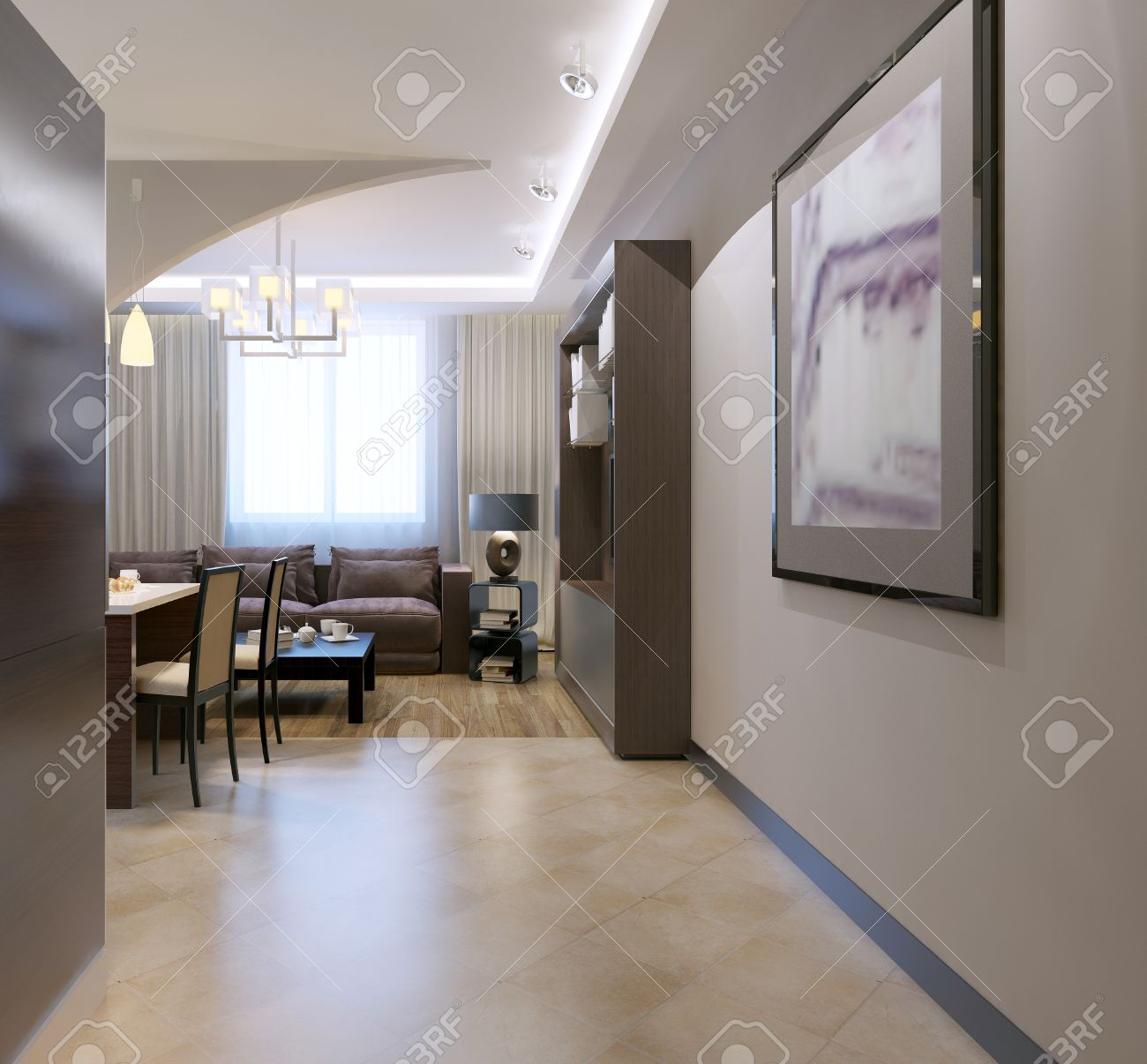 Great Entrance To Kitchen Studio. Contemporary Kitchen With Bar Separated From Living  Room By Arch,
