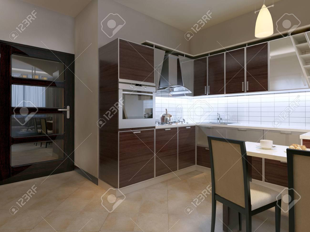 Cucina In Stile Contemporaneo. Scuro Cucina Marrone Con Inserti In ...