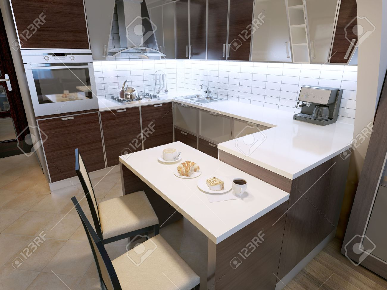 Modern Zebrano Kitchen Design Elegant Kitchen With Breakfast Stock Photo Picture And Royalty Free Image Image 46284424