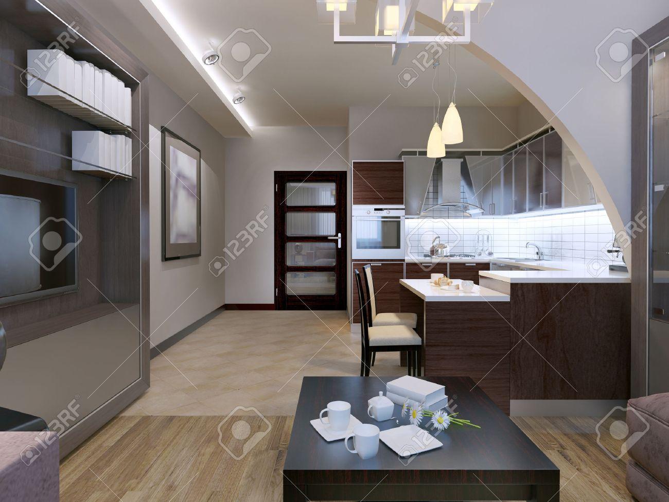 Cuisine Séparée Du Salon studio design contemporain. cuisine avec salon séparé avec une belle, mais  simple arc. plancher mixte et des murs blancs. lampes de plafond de néon.