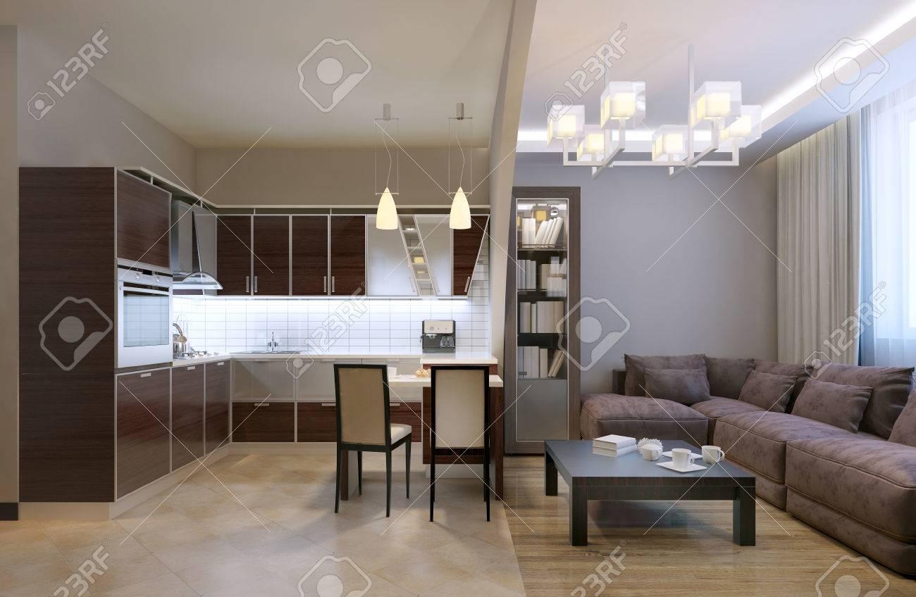Arc séparé studio de cuisine. revêtements de sol mixte et le plafond, des  lampes au néon et lustre, bibliothèque et canapé de velours avec des ...