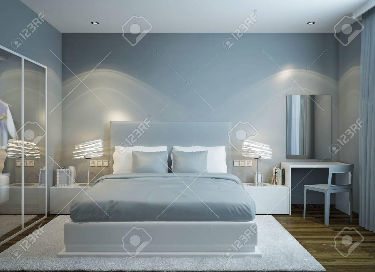 Haupt-Schlafzimmer Im Skandinavischen Stil. 3D übertragen ...