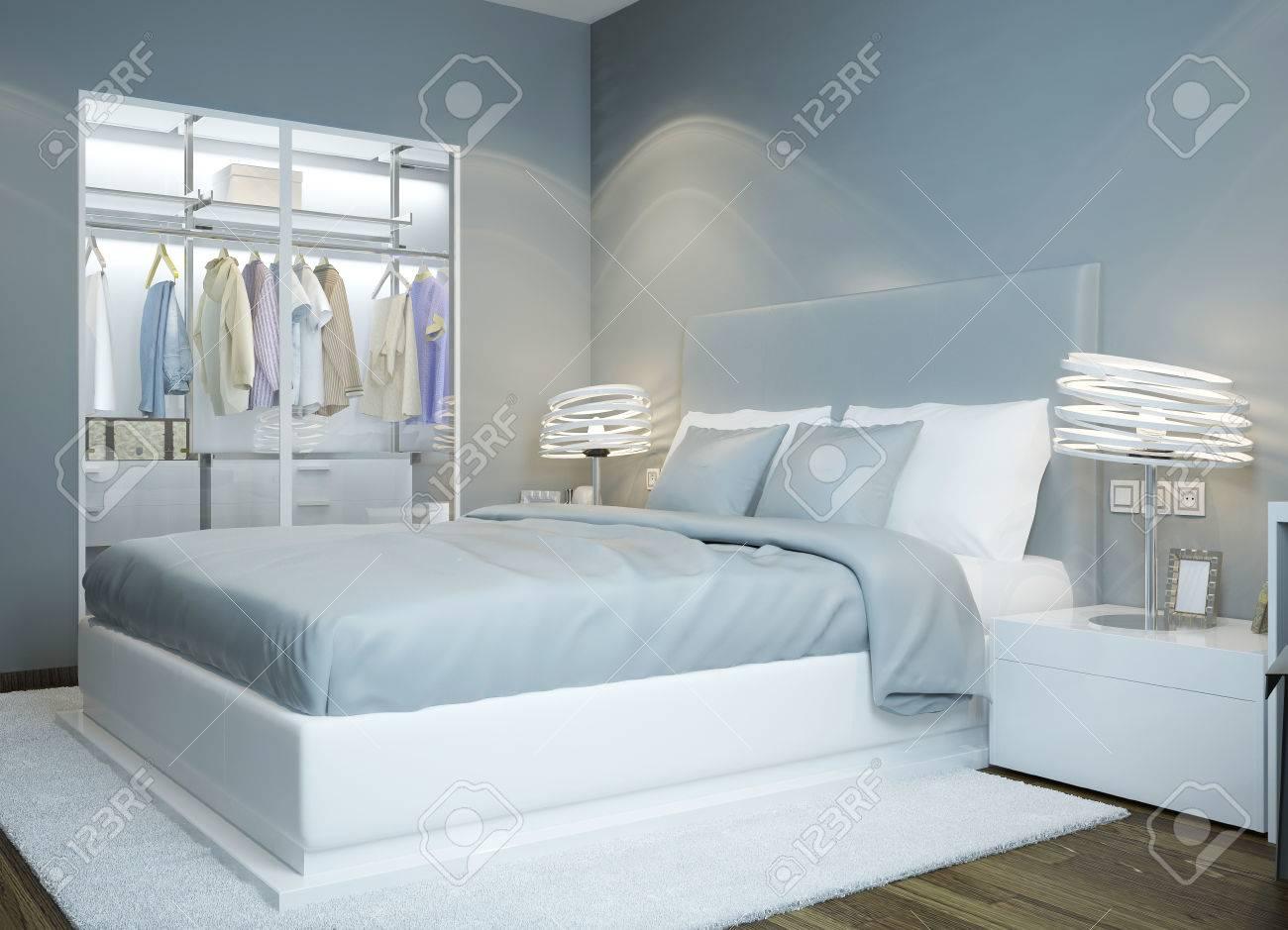 Scandinavian Schlafzimmer Design. Licht Blau Gefärbten Schlafzimmer,  Kleiderschrank Mit Glasschiebetüren, Futuristischen Lampen.