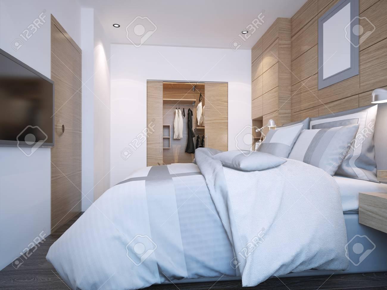 . Design of modern bedroom with walk in closet  3D render