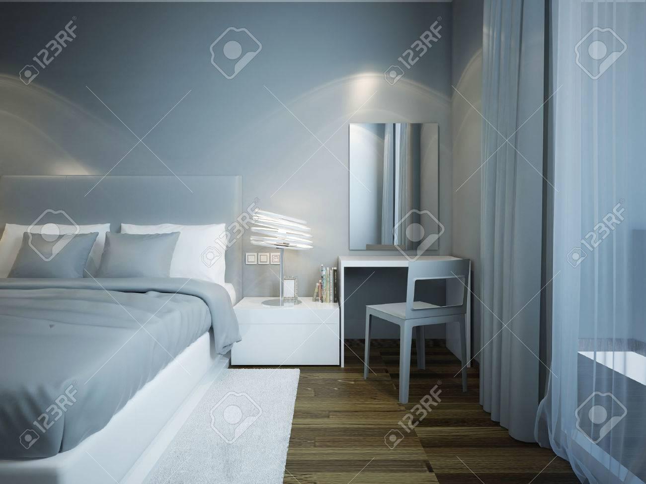Estilo Tecno Azul Dormitorio Con Suelo De Parquet Marrón. Cama ...