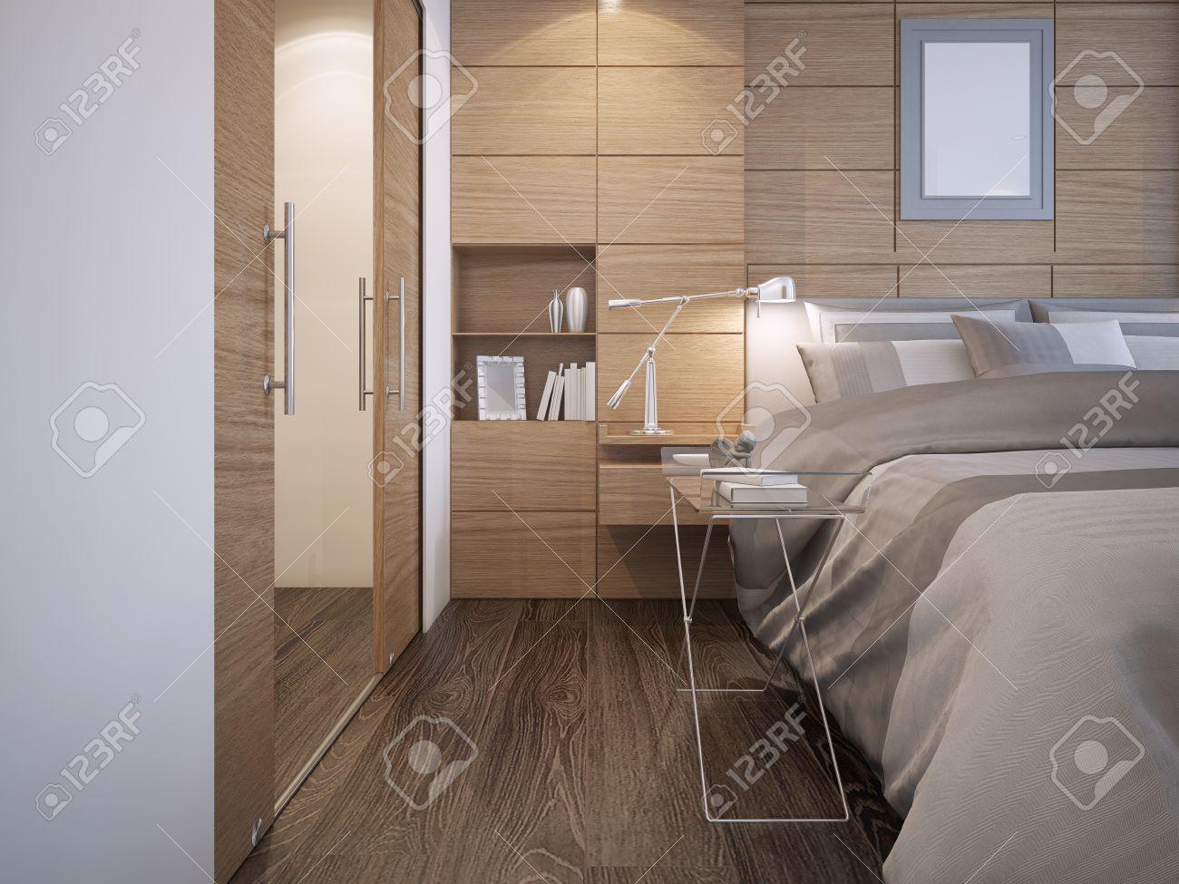 disegno bella camera da letto. legno decorazione della parete