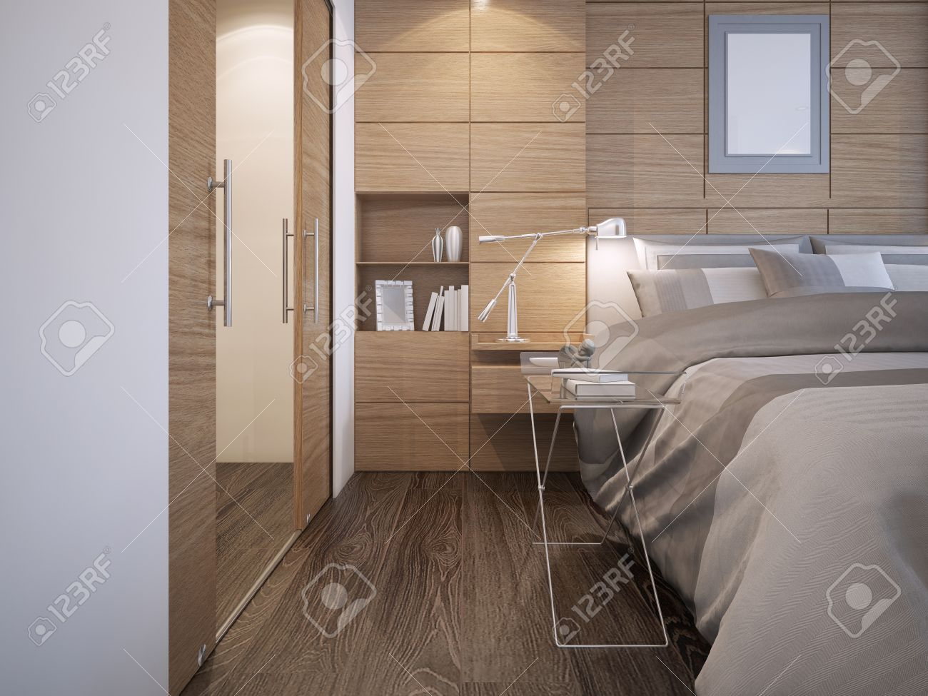 Beautiful Bedroom Design Wood Panel Wall Decoration With Niche Stock Photo Picture And Royalty Free Image Image 46284450