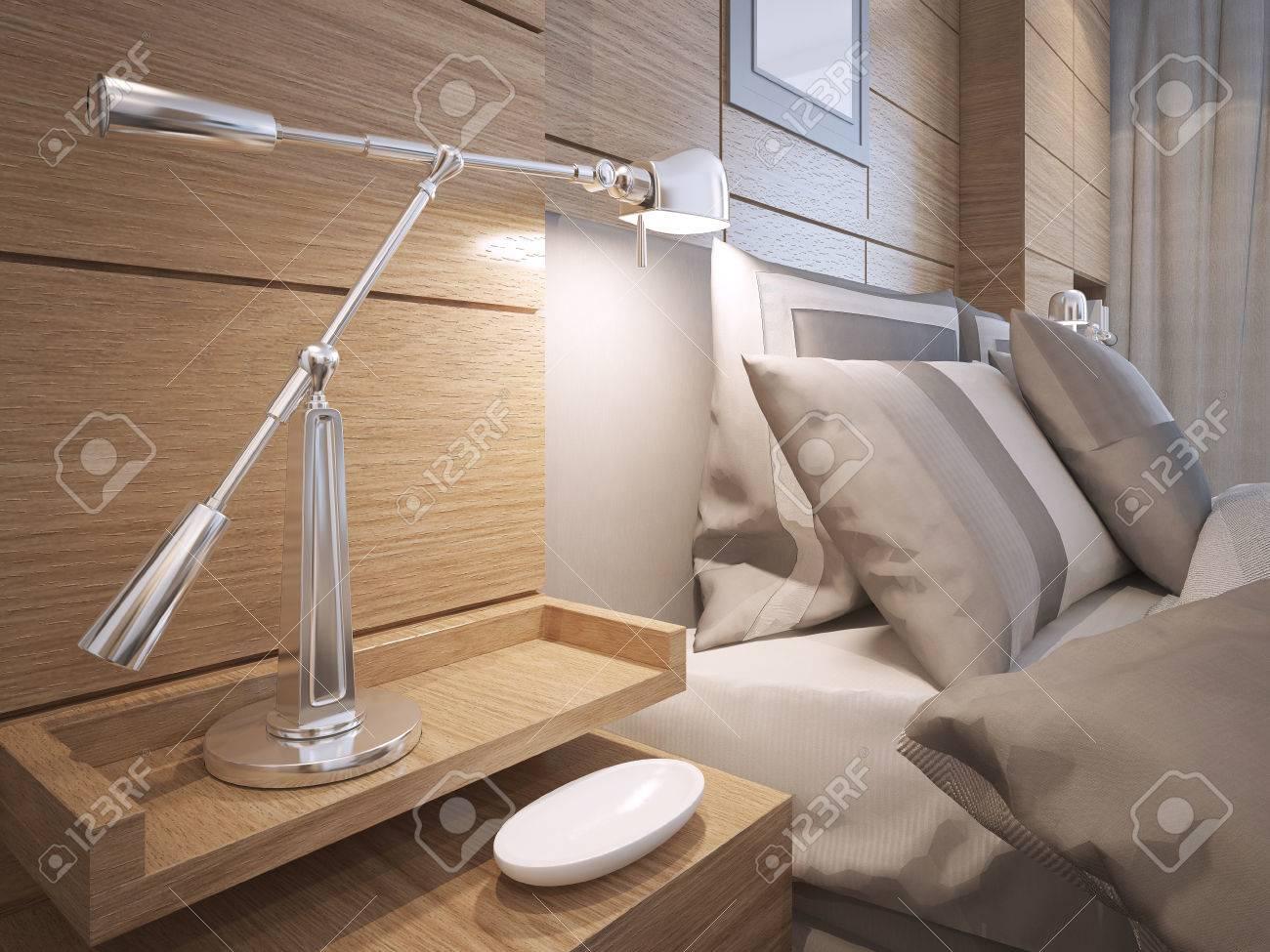 Idée de chambre en mezzanine. Chevet étagères avec lampe dans la chambre  avec des murs lambrissés bruns. 3D render