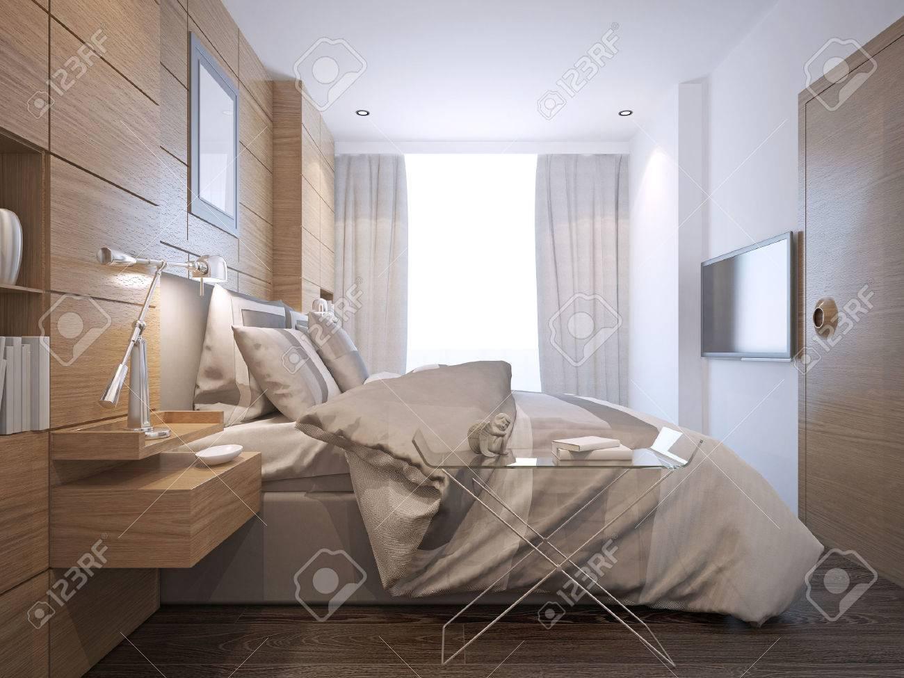 Taille Moyenne D Une Chambre lumineux style loft. chambre de taille moyenne avec des planchers de bois  franc de tonalité moyenne et des murs blancs. 3d render