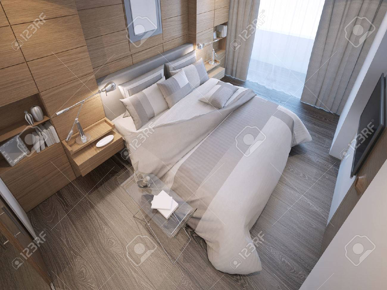 Design Of Loft Hotel Bedroom. Decorated By Wooden Paneling Forms, A Strong  Focal Point