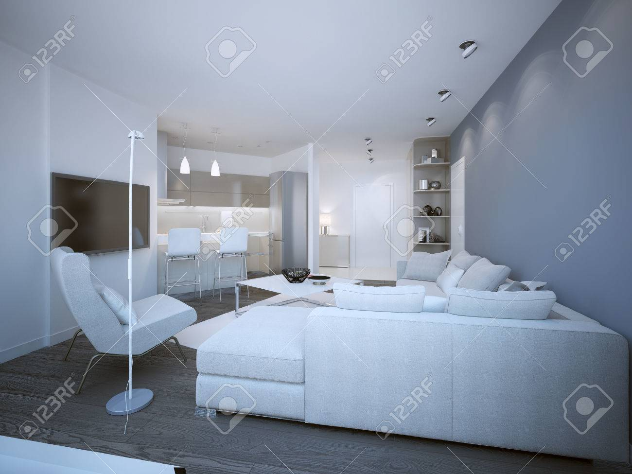 Lounge Room Techno Style With Small Kitchen. 3D Render Stock Photo ...