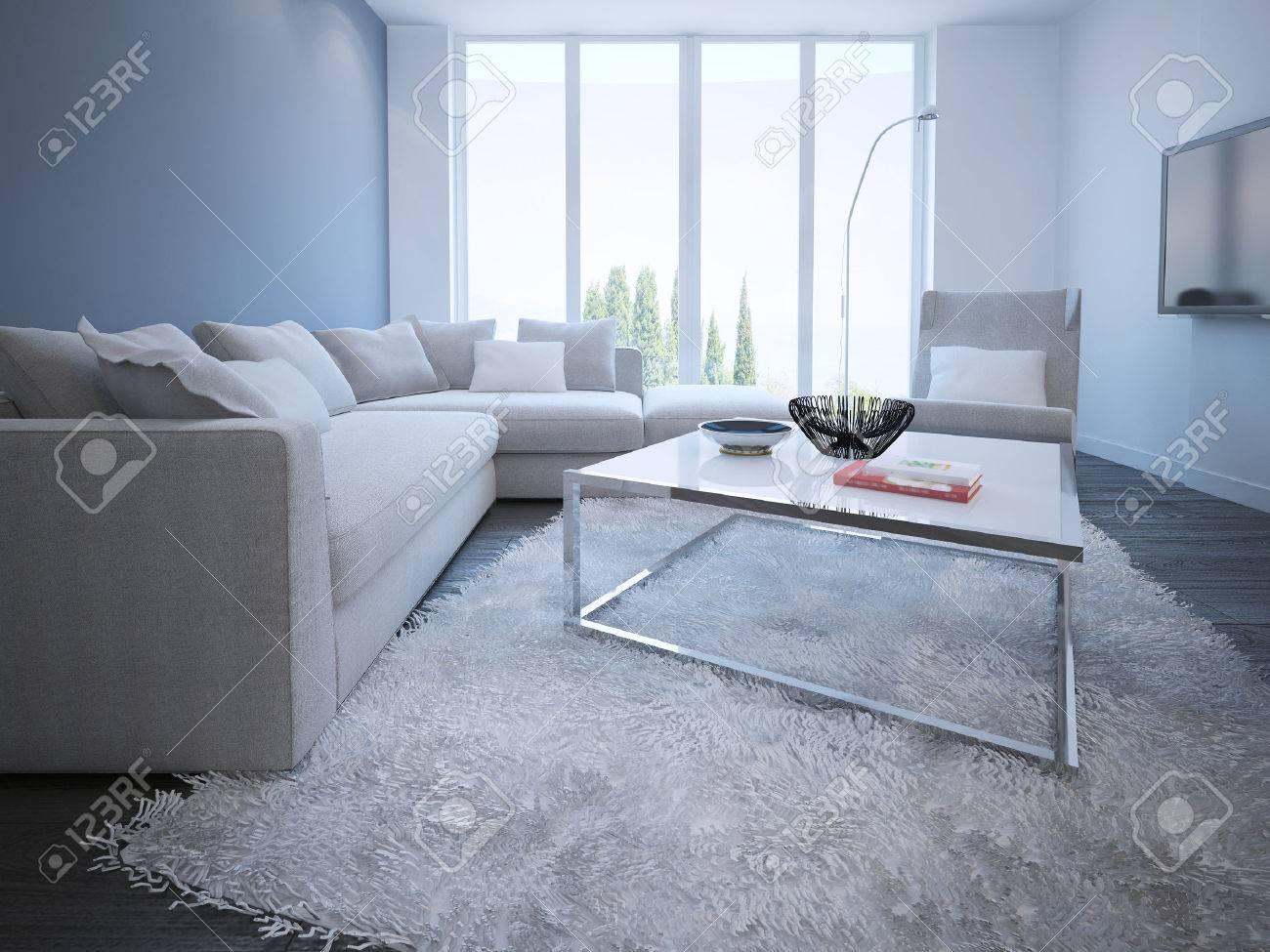Eigentijdse woonkamer stijl. witte en blauwe muren, donkere ...